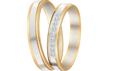 Alliance bicolore 18 carats avec diamants