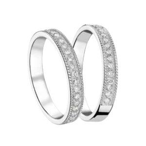 Alliances Or Gris Ciselées Perlées Sertis de Diamants