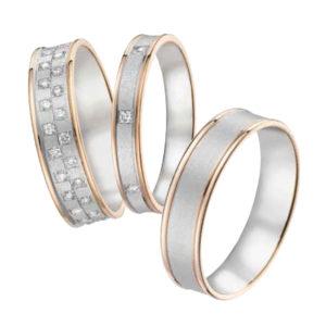 Alliances Or Gris avec Liserés Jaune Diamants
