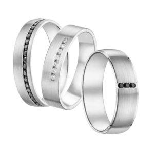 Alliance or Gris ou Platine sertis de diamants blancs & noirs