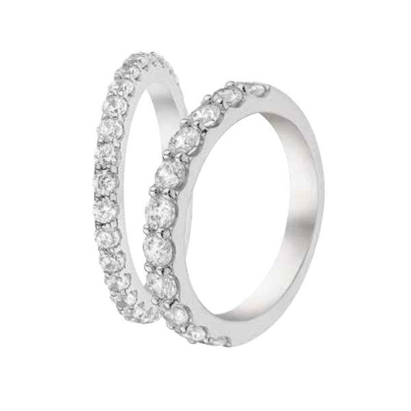 Alliances Or Gris sertis de diamants griffés