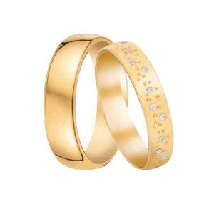 Alliances Or Jaune 9 carats sertis de Diamants