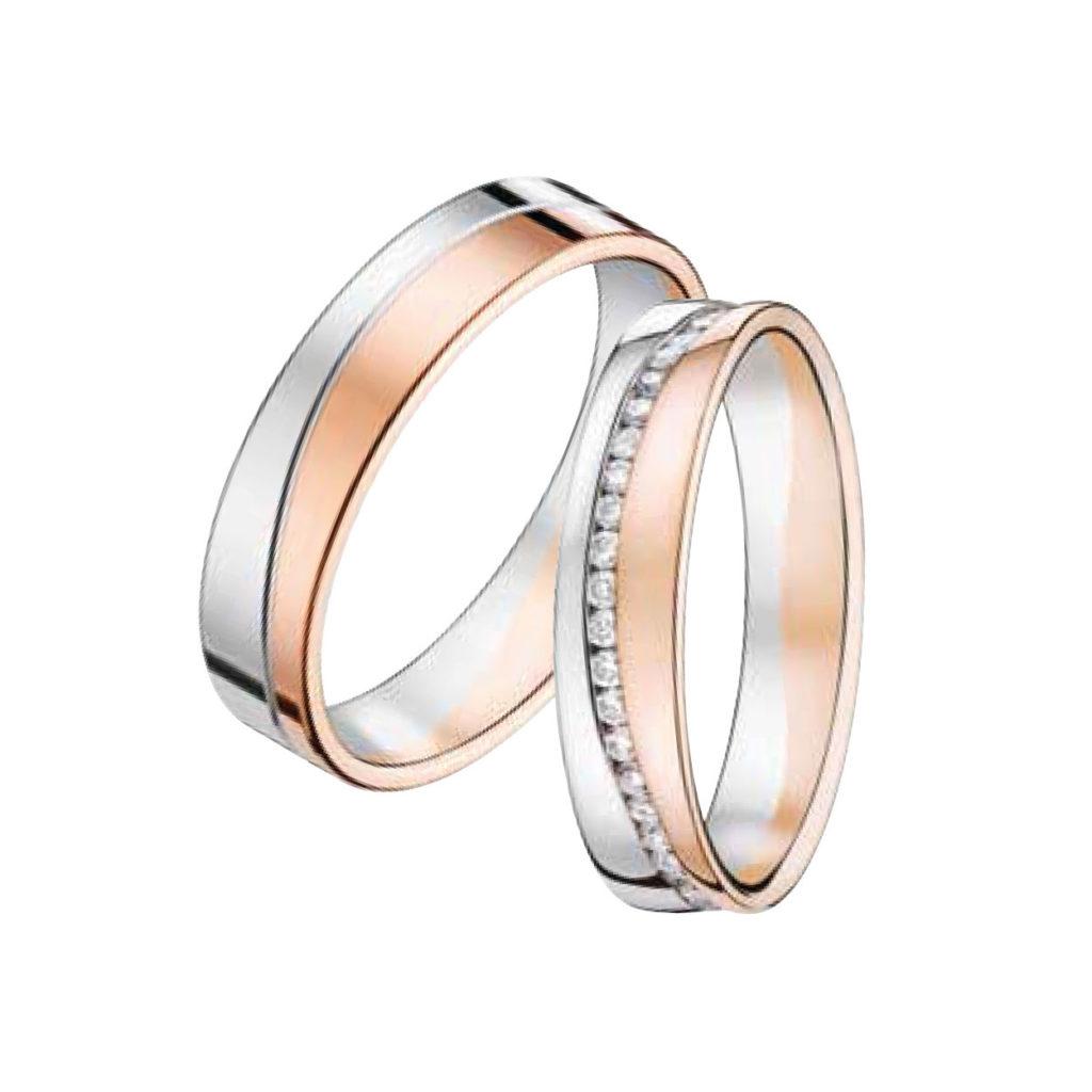 Couple d'alliances Or Gris et Or Rose sertis de Diamants