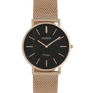 Montre ronde bracelet or rose et cadran noir